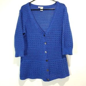 DKNY Knit Cardigan w/ Blue and Purple